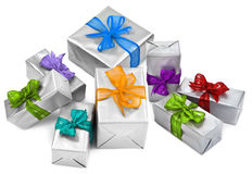 Christmas presents on white Stock Images