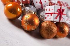 Christmas presents on white background Stock Photos