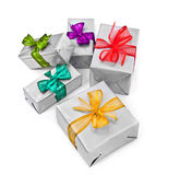 Christmas presents on white background Stock Photo