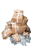 Christmas presents on white background Stock Images