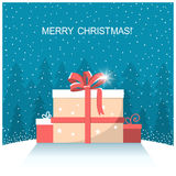 Christmas presents on winter snow landscape Royalty Free Stock Photography