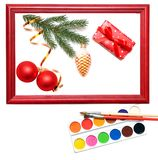 Christmas presents in wood frame Stock Image