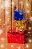 Christmas presents  on wooden background. Colorful christmas presents  on wooden background stock photography