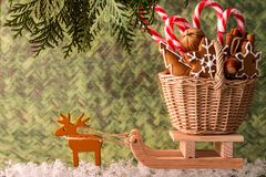 Christmas presents on a wooden sled.  Christmas Card Royalty Free Stock Images