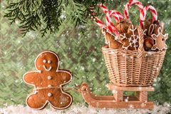 Christmas presents on a wooden sled.  Christmas Card Royalty Free Stock Photo