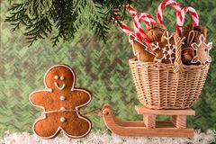 Christmas presents on a wooden sled.  Christmas Card Royalty Free Stock Image