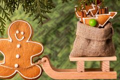 Christmas presents on a wooden sled.  Christmas concept Royalty Free Stock Images