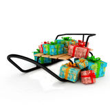 Christmas presents on a wooden sledge over white Stock Photo
