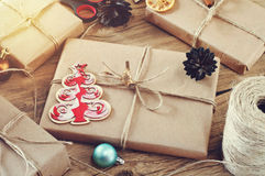 Christmas presents on a wooden table closeup Royalty Free Stock Photos