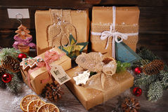 Christmas presents wrapped in eco paper Royalty Free Stock Photography