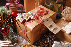 Christmas presents wrapped in eco paper Royalty Free Stock Photos
