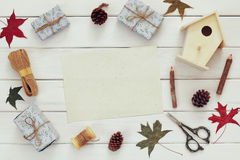 Christmas presents wrapping and empty card Royalty Free Stock Photos