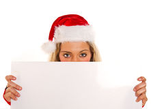 Christmas pretty woman peeking Stock Photo