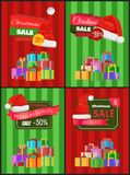 Christmas Price Reduction Advertisement Banners. With boxes tied with ribbons and bows, and red Santa hats vector illustrations on striped background stock illustration
