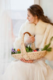 Christmas princess in a fur coat Stock Image