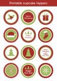 Christmas printable cupcake toppers Royalty Free Stock Photo