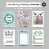 Christmas Printable Journaling Cards. Line Style Jornal Pages Royalty Free Stock Photo