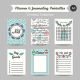 Christmas Printable Journaling Cards. Line Style Jornal Pages. Christmas Printable Journaling Cards. Line Style Bullet Jornal Pages with Winter Season vector illustration