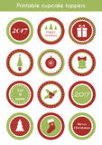 Christmas printable stickers. cupcake toppers Royalty Free Stock Photography