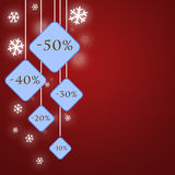 Christmas promo & sales concept. Christmas sales and promo on a red background from -10% to -50 Stock Image