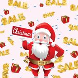 Christmas promo with Santa Claus and sale text falling around. gift flying stock illustration