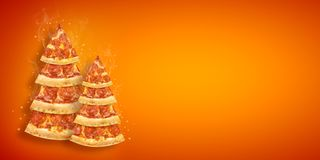 Christmas promotion flyer with pizza slice in shape of Christmas tree with copy space. Creative concept new year poster pizza royalty free stock photos
