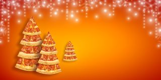 Christmas promotion flyer with pizza slice in shape of Christmas tree with copy space. Creative concept new year poster pizza royalty free stock images
