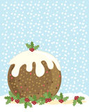 Christmas pudding. A hand drawn illustration of a christmas pudding with holly and a snowy background Stock Images