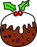 Christmas Pudding. Tasty Christmas pudding isolated on white drawn in toddler art style Stock Photos