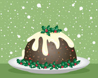 Christmas pudding. An illustration of a christmas pudding with cream sauce and holly decoration on a white plate with a green snowflake festive background Royalty Free Stock Photo