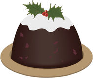Christmas pudding. With holly on plate Stock Image