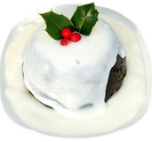 Christmas pudding. In a white sauce traditional Royalty Free Stock Photography