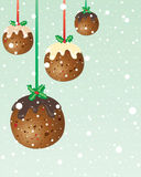Christmas pudding baubles Stock Photo