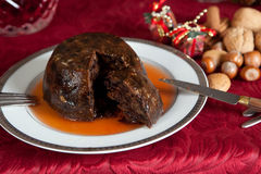 Christmas pudding with brandy Royalty Free Stock Images