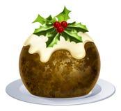 Christmas Pudding Cake. An illustration of a Christmas pudding cake with holly on top Stock Images