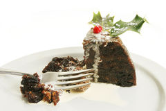 Christmas pudding with cream Stock Image