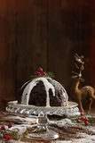 Christmas Pudding With Cream Stock Photography