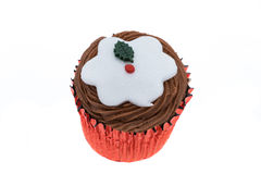 Christmas pudding cupcake Stock Photography