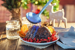 Christmas pudding flambe Royalty Free Stock Images