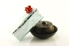 Christmas Pudding and Gift Stock Photos