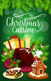 Christmas pudding and gift greeting card design. Christmas cuisine dinner greeting card for winter holiday celebration. Xmas gift, pudding and cookie Royalty Free Stock Images