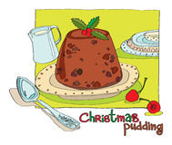 Christmas pudding. On a green tablecloth. vector illustration for a menu or invitation Royalty Free Stock Images