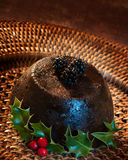 Christmas Pudding With Holly Royalty Free Stock Photos
