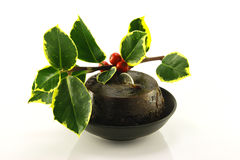 Christmas Pudding and Holly Stock Images