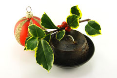 Christmas Pudding with Holly and Bauble Royalty Free Stock Images