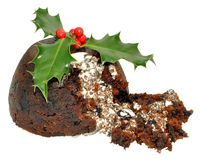 Christmas Pudding And Holly Royalty Free Stock Photography