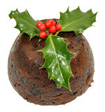 Christmas Pudding And Holly Stock Photography