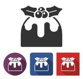 Christmas pudding  icon in different variants. With long shadow Stock Photos