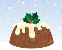 Christmas pudding. An illustration of a christmas pudding with cream frosting and holly decoration on a snowy background Stock Images