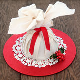 Christmas Pudding in Muslin Bag Stock Photo